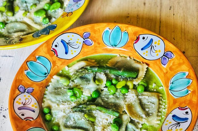 Spring Ravioli: Stinging Nettle and Ricotta Filling with Spring Peas, Fava Beans & Asparagus