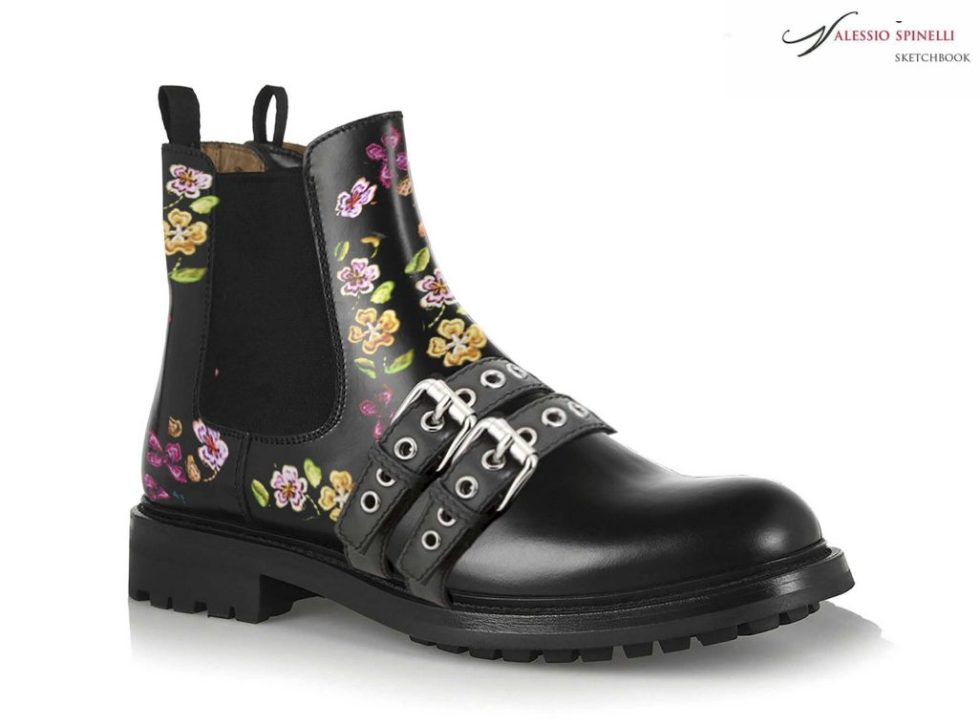 Floral patterned Italian luxury brand casual boots