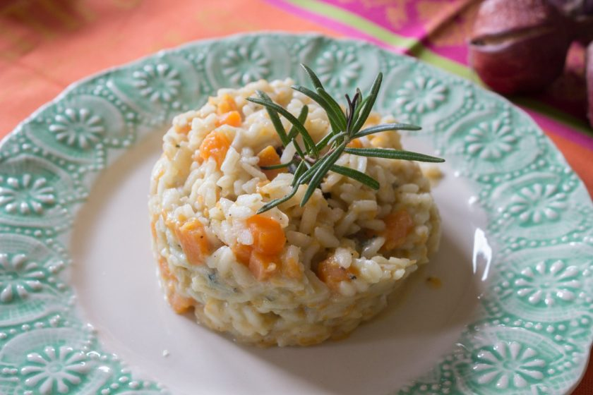 Pumpkin Gorgonzola Risotto is a delicious fall dish and great for the holidays