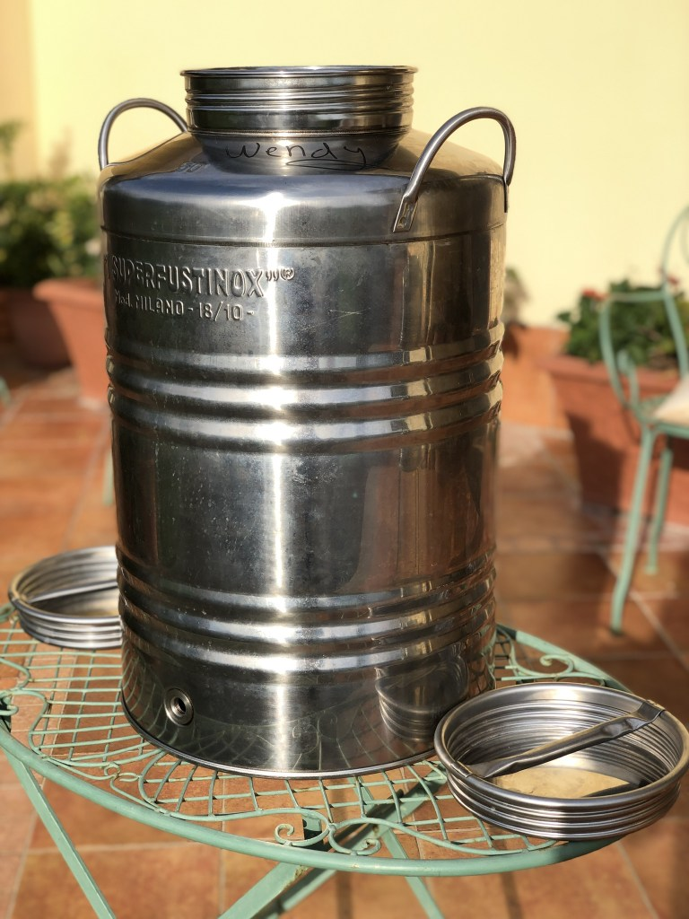 Our 50 liter stainless steel olive oil container with a spout