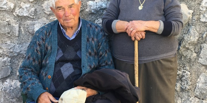 Ninety year old couple from a hill town above Sperlonga, south of Rome