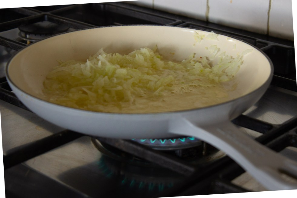 Sautéeing minced onions