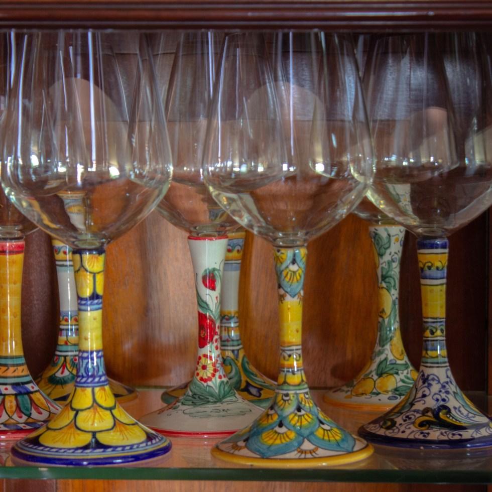 Deruta hand-painted Italian ceramics wine glasses