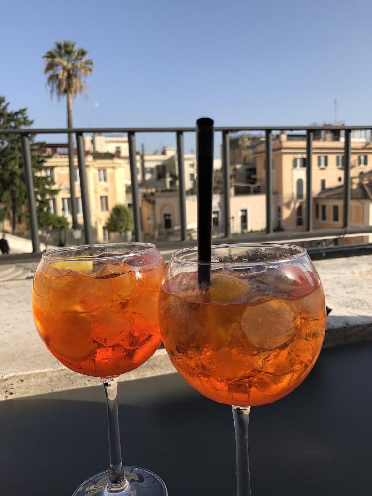 Palazzetto terrace bar overlooking the Spanish steps near the Trevi Fountain neighborhood
