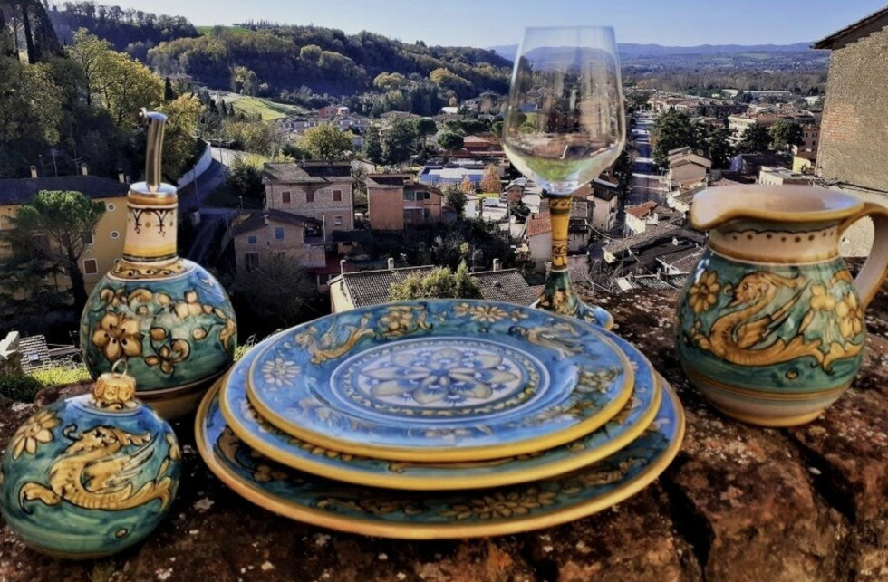 hand-painted ceramic plates from Giovanni Baiano's shop in Deruta