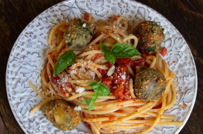 spaghetti with eggplant polpette