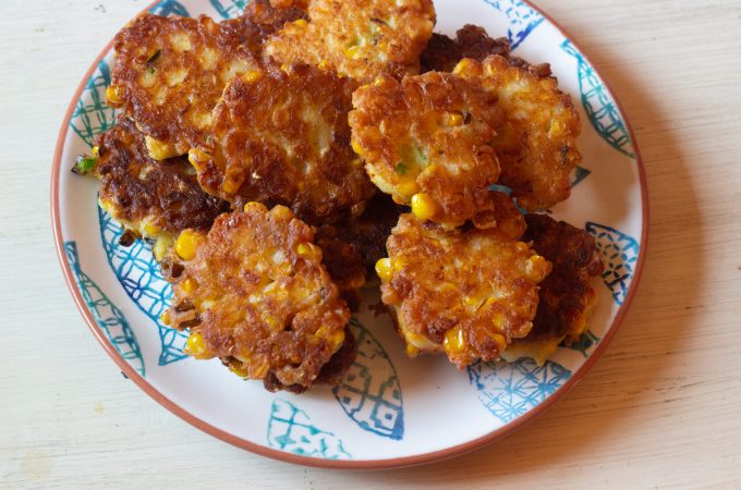 corn fritters ready to serve
