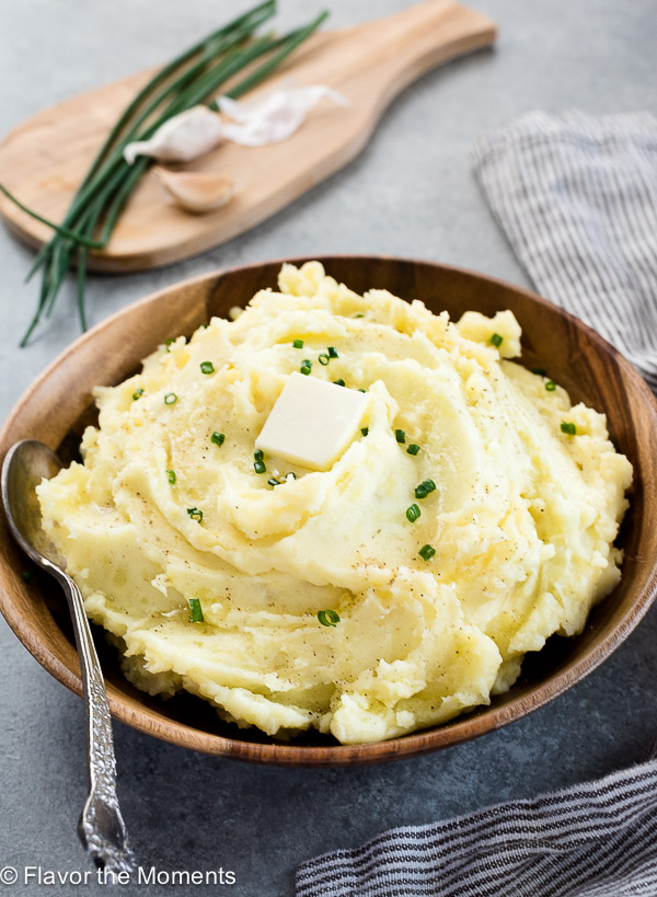 Yukon Gold Garlic Mashed Potatoes are yukon gold potatoes and garlic mashed to creamy, fluffy perfection!