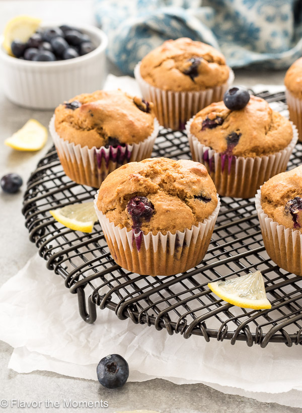 Healthier Blueberry Lemon Muffins are whole grain muffins that are studded with fresh blueberries and bursting with fresh lemon flavor!