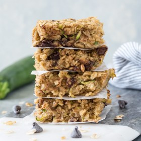 oatmeal zucchini snack bars stacked up