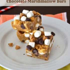 marshmallow bars piled up on plate