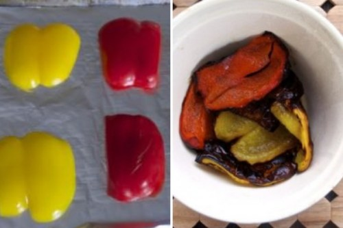 roasted bell pepper collage