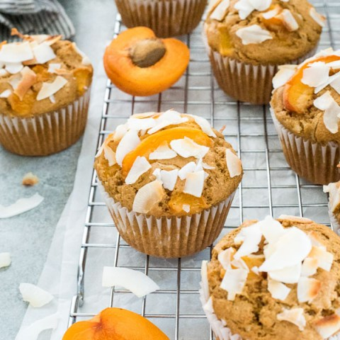 Apricot muffins on wire rack