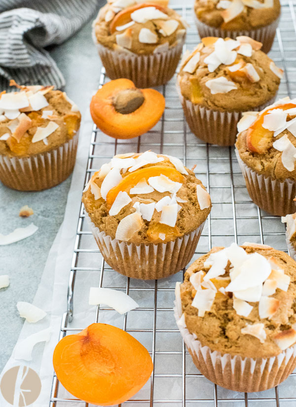 Healthier Fresh Apricot Coconut Muffins are light whole grain muffins studded with chunks of sweet, fresh apricot and plenty of coconut!