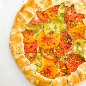 overhead shot of baked heirloom tomato galette