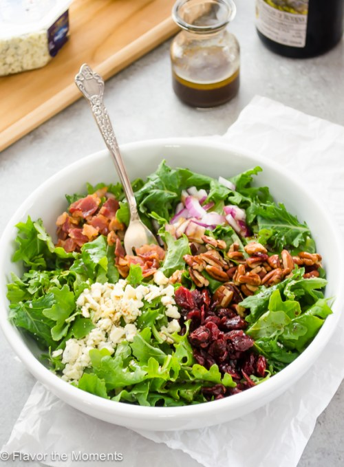 baby-kale-salad-with-bacon-blue-cheese-and-cranberries4-flavorthemoments.com