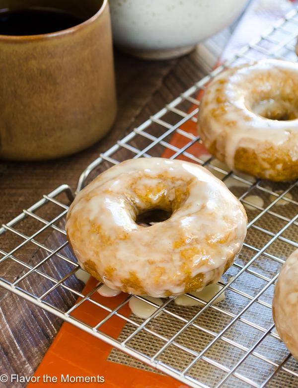 Espresso Glazed Baked Pumpkin Donuts | flavorthemoments.com