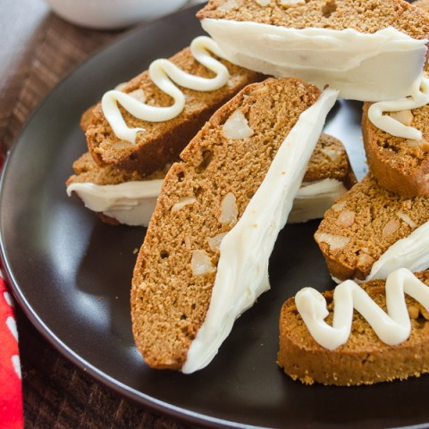 Gingerbread biscotti piled on a plate