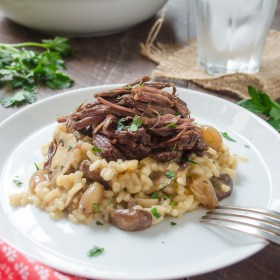 Beef short ribs with mushroom risotto on a white plate
