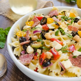 close up of Italian Pasta Salad in white bowl