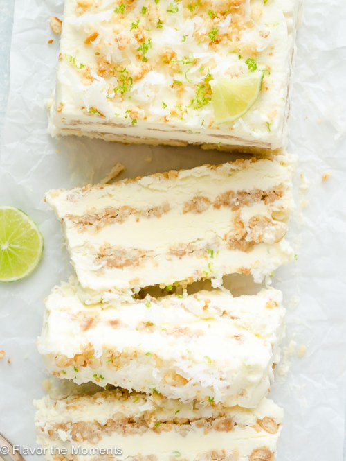 Coconut Lime Ice Cream Loaf is layers of no-churn coconut lime cheesecake ice cream layered with a salty-sweet macadamia nut cookie crust. It's an easy dessert that's guaranteed to impress! @FlavortheMoment