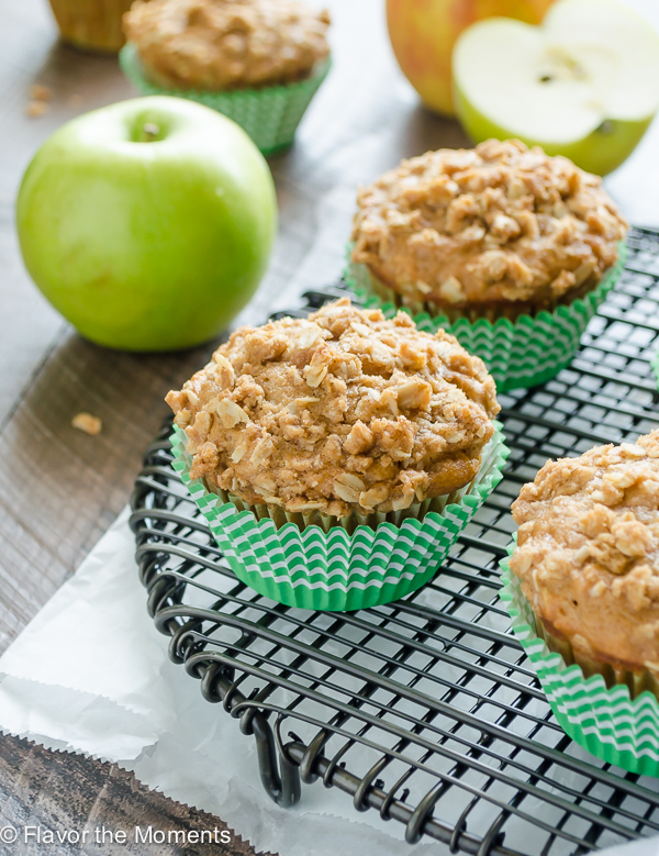Apple Oatmeal Crisp Muffins are apple oatmeal muffins packed with fresh apple chunks and topped with an oatmeal streusel. They're like apple crisp in muffin form! @FlavortheMoment