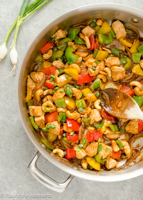 30-Minute Skinny Cashew Chicken is a lighter way to enjoy cashew chicken in just 30 minutes, and it's even better than take-out! @FlavortheMoment