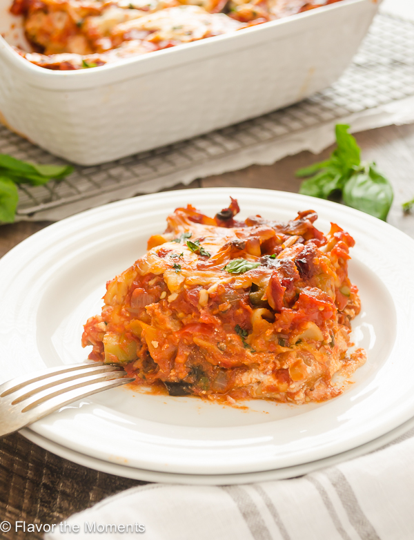 Ratatouille Lasagna is lasagna layered with a ratatouille inspired pasta sauce, ricotta cheese, and mozzarella. It's a hearty vegetarian meal that's guaranteed to satisfy! @FlavortheMoment