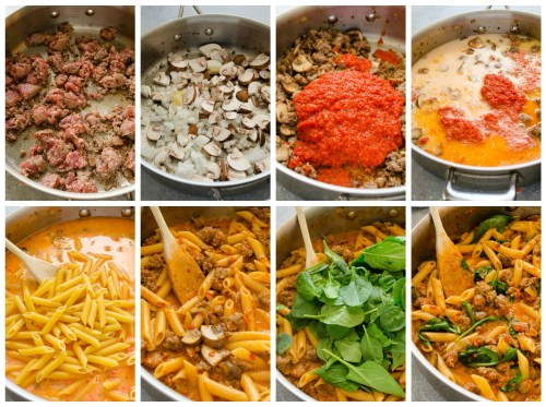 one-pot-creamy-sausage-roasted-red-pepper-pasta-directions