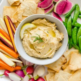 Lemon Rosemary Hummus is a creamy chickpea hummus that's packed with fresh lemon and rosemary flavor! @FlavortheMoment