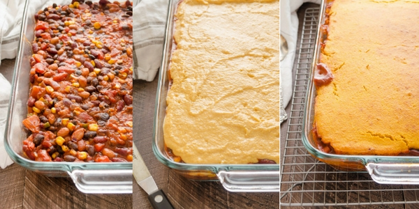 Three Bean Tamale Pie with Sweet Potato Cornbread Topping is a hearty vegetarian tamale pie with a homemade sweet potato cornbread topping! @FlavortheMoment