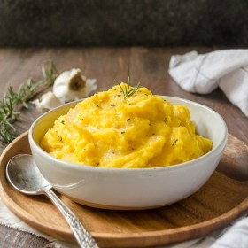 Kabocha Squash Mashed Potatoes in bowl front view