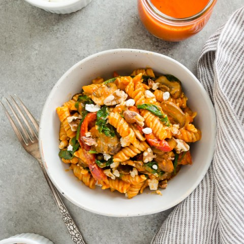overhead shot of Roasted Red Pepper Pasta in a white bowl