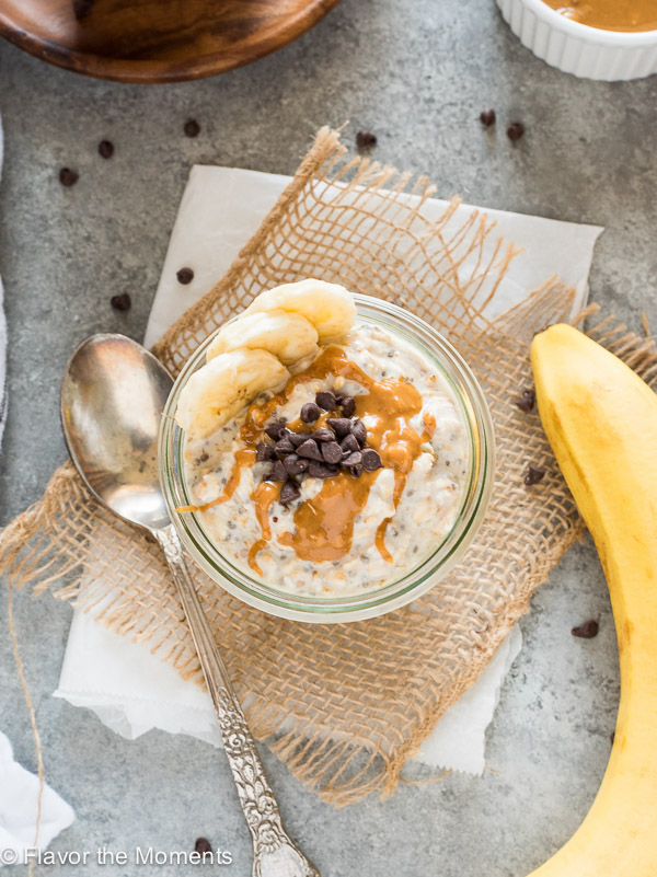Peanut Butter Banana Chocolate Chip Chia Overnight Oats are overnight oats packed with banana, creamy peanut butter and topped with chocolate chips! (GF, Vegan option)