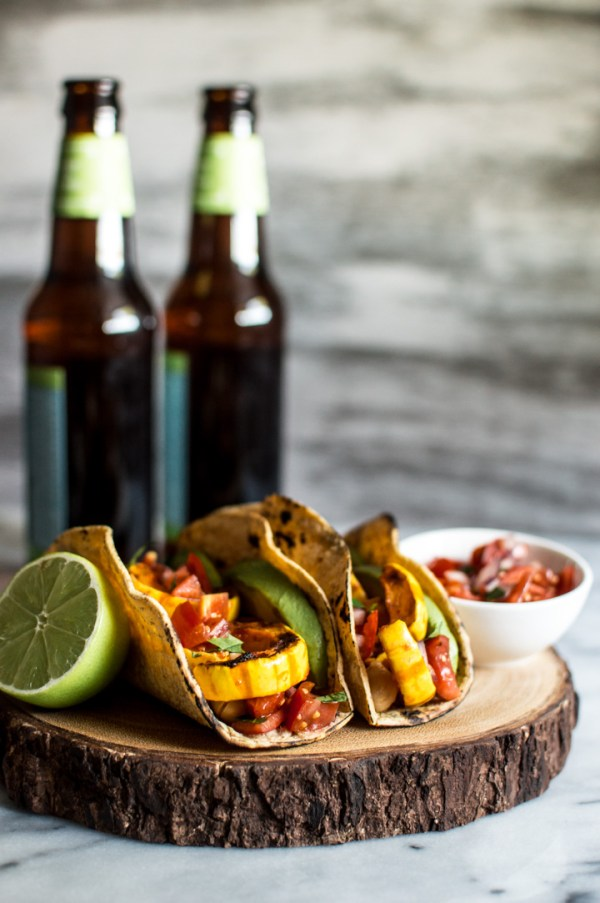 Harissa Miso Delicata Squash Tacos by Healthy Nibbles and Bits