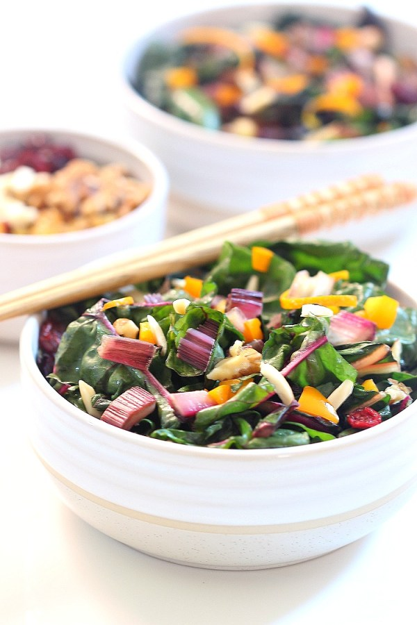 Sauteed Swiss Chard with Fruit and Nuts by SImply Fresh Dinners