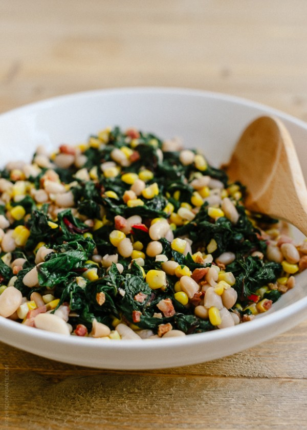 Swiss Chard with Pancetta, Corn and Cannelini Beans | www.kitche