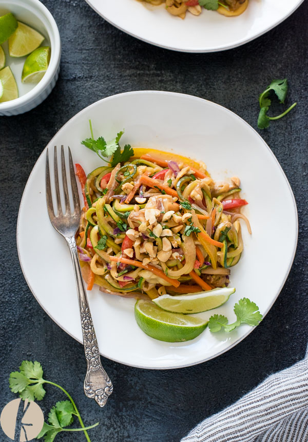 Vegan Thai Peanut Zucchini Noodles are an easy low carb meal packed with zoodles and veggies in a delicious Thai peanut sauce!