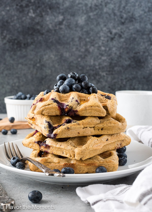 One Bowl Blueberry Oat Flour Waffles