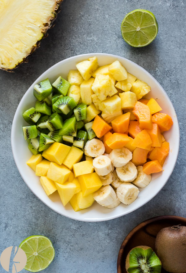 Tropical Fruit Salad with Coconut and Lime is a delicious blend of tropical fruit tossed with fresh lime juice and coconut flakes with no added sugar!