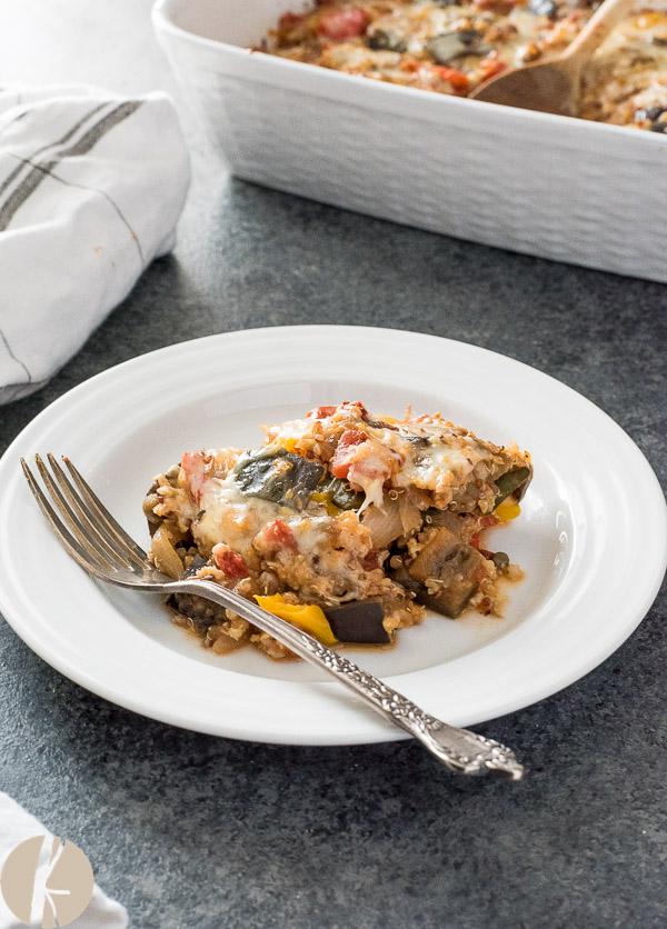 Cheesy Ratatouille Quinoa Casserole is classic ratatouille combined with quinoa and mozzarella for the ultimate vegetarian comfort food!