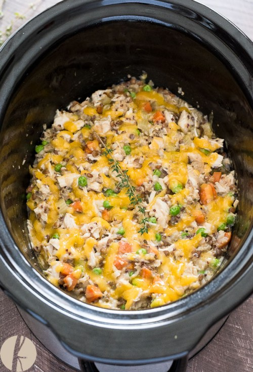 Easy Crockpot Chicken and Wild Rice is a protein-packed dump and go slow cooker casserole that's family-friendly and comes together in minutes!