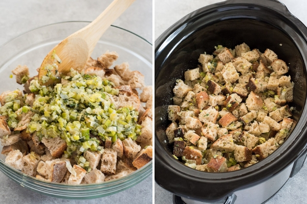 easy-slow-cooker-stuffing-process-collage-2-flavorthemoments