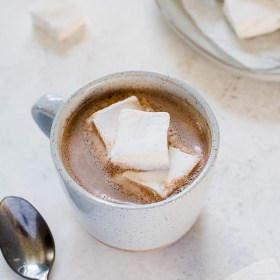 Single Serving Dairy Free Hot Chocolate is healthy homemade microwave hot cocoa made with only 3 simple ingredients!