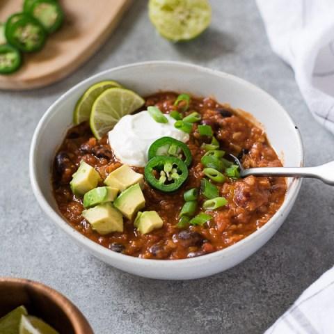 Instant Pot Vegetarian Taco Lentil Chili