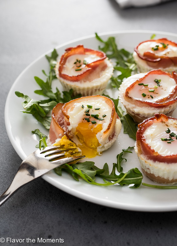 Egg and Bacon Breakfast Cups are a two ingredient, low carb recipe that's perfect for meal prep breakfast or make ahead brunch!