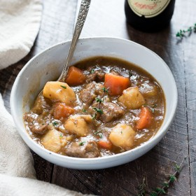 Instant Pot Irish Beef Stew is flavorful and hearty, with tender chunks of beef, potatoes, vegetables and Guinness stout!