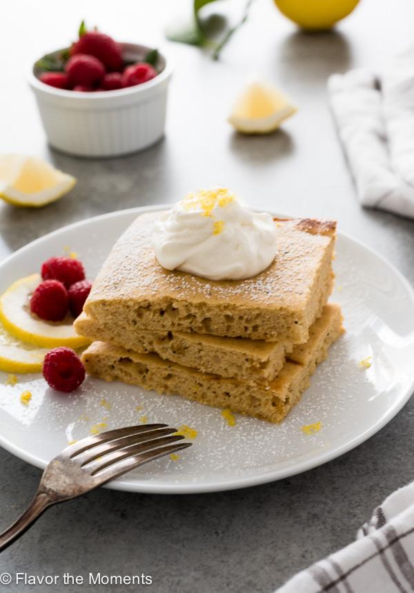 Lemon Poppy Seed Sheet Pan Pancakes are super fluffy, healthy sheet pan pancakes made with whole wheat flour and Greek yogurt!