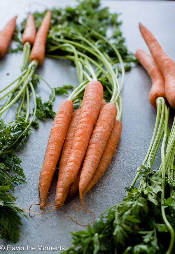 carrot bunches with carrot tops
