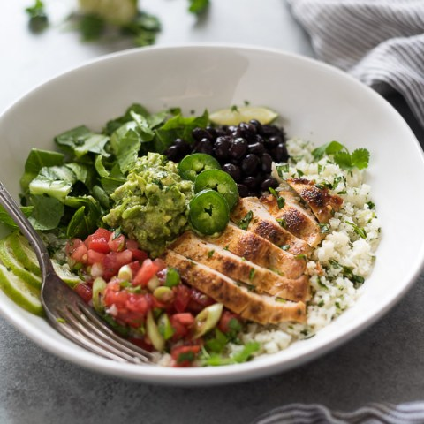 Chicken Burrito Bowls with Cilantro Lime Cauliflower Rice